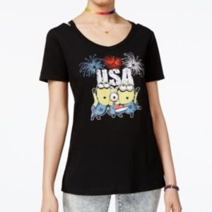 [003]Hybrid Womens USA Minions Graphic T-Shirt